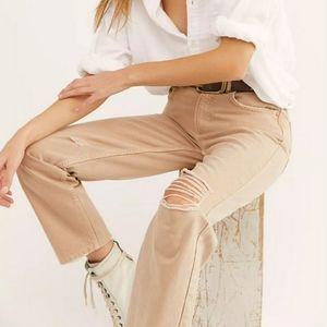 Free People Tan Dakota Straight Jeans